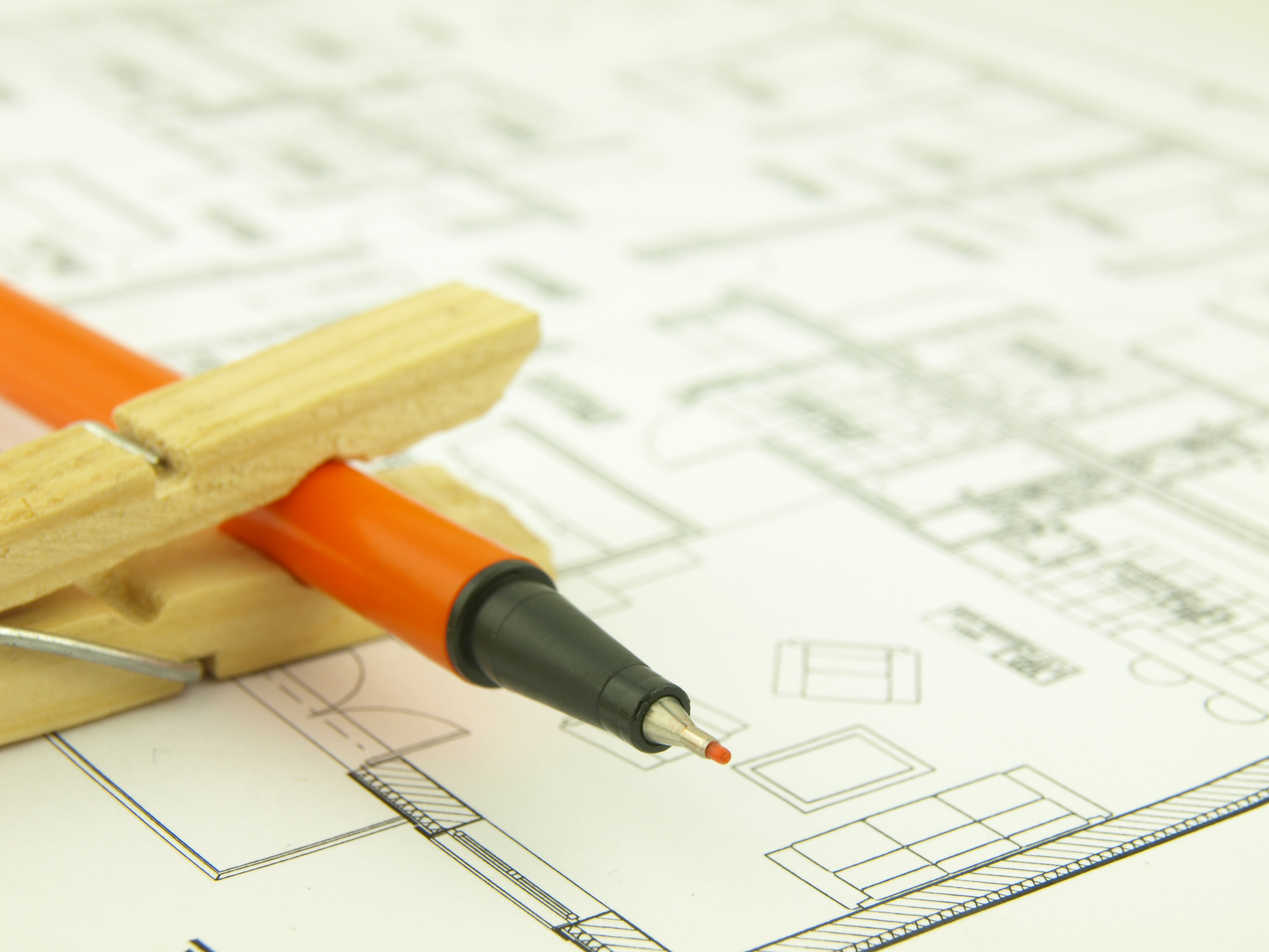 Build a house of brick of wood project and architect tools
